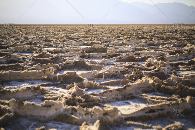 Close Up of dry Salt pans in Death Valley National Park, California