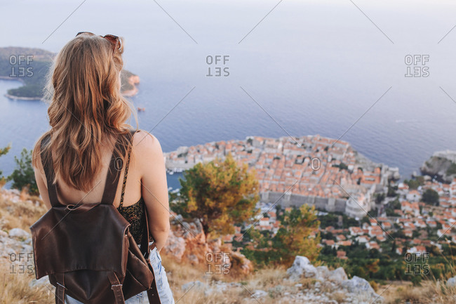 Back view of blond woman at Dubrovnik viewpoint