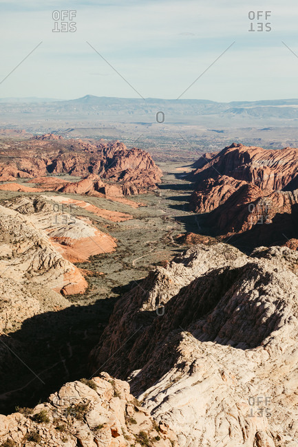 View down the valley of Snow Canyon State Park near St. George Utah