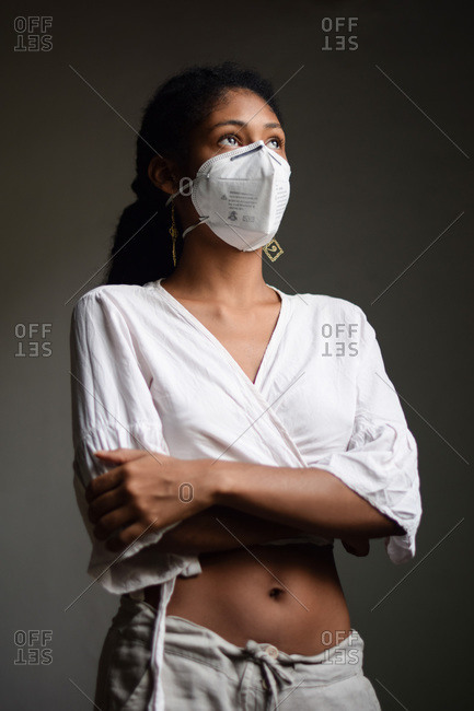 Young woman with a face mask