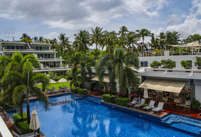 Phuket, Thailand - May 11, 2019: swimming pool at luxury holiday resort in Phuket Thailand