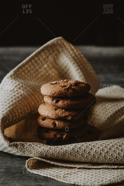 chocolate chip cookies dark food photography