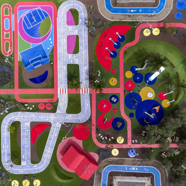 Colorful urban playground for children viewed from above