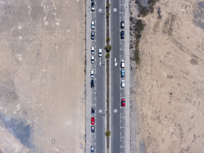 Bird's view of the streets with several parked cars