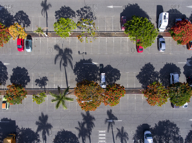 Cars in a parking lot viewed from above
