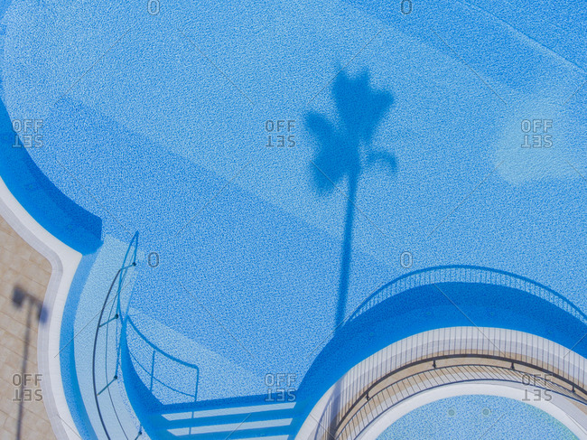 Aerial view of a palm tree shadow in a blue pool