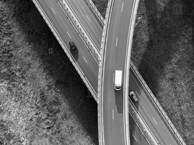 Aerial view of the traffic on a roadway