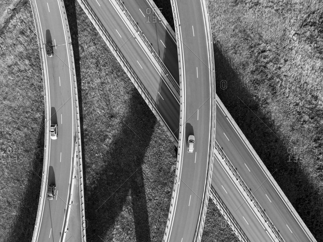 Bird's eye view of the traffic on the roadway