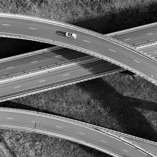 Traffic on the roadway viewed from above