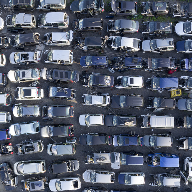 Car scrap yard viewed from above