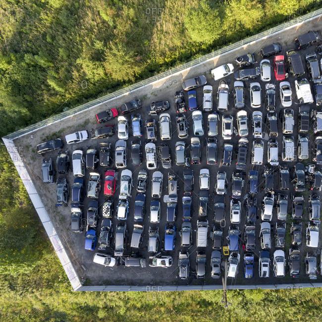 Aerial view of a car scrap yard
