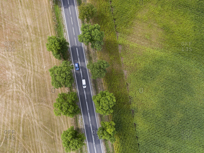 Traffic on the road in the countryside viewed from above