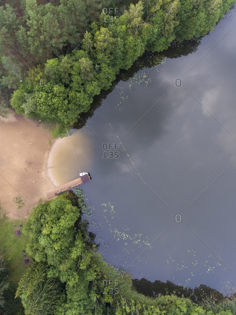 Aerial view of the lakeside with a small boat dock