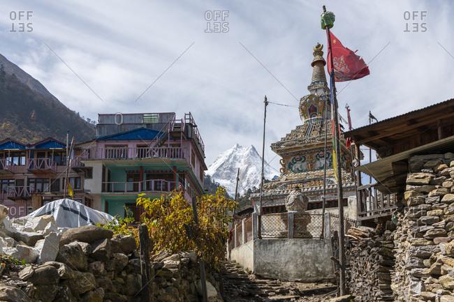 October 29, 2019: View of the Manaslu, Lho, Nepal, Manaslu Circuit