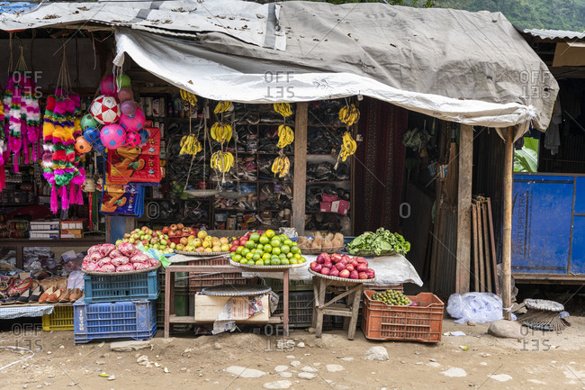 October 23, 2019: Grocery store in Arughat Bazar, Nepal