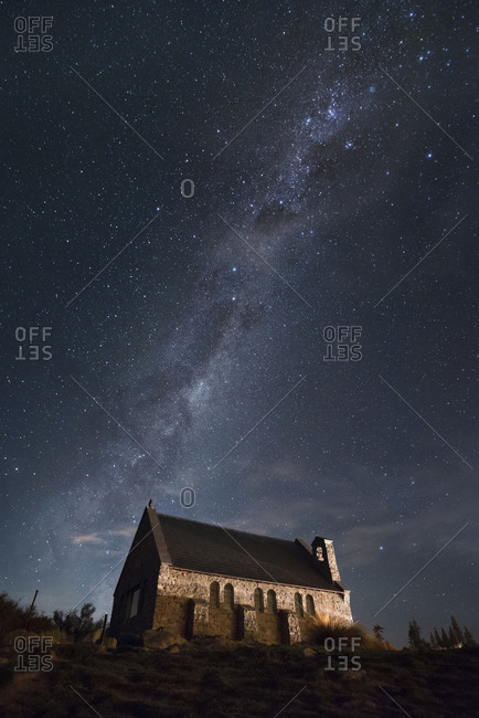 Chapel at night with Milky Way in the background, Tekapo, Canterbury, New Zealand