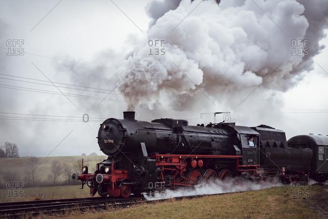 January 5, 2020: Steam locomotive, 52 7596, Zug, Swabian Jura, Baden-Wuerttemberg, Germany, Europe