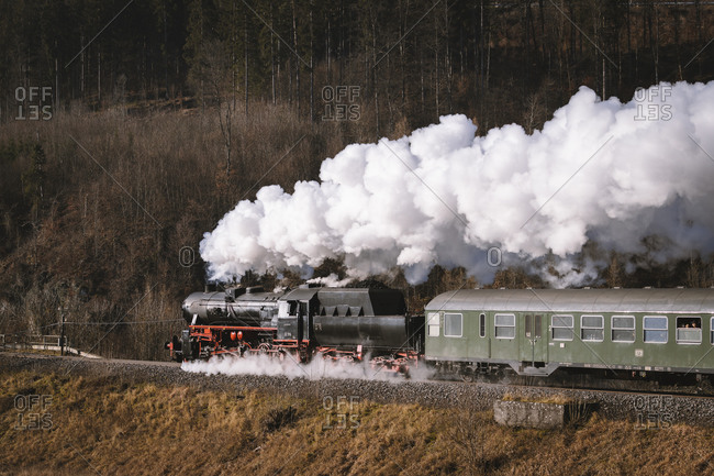 January 6, 2020: Steam locomotive, Zug, Upper Danube Valley, Baden-Wurttemberg, Germany, Europe