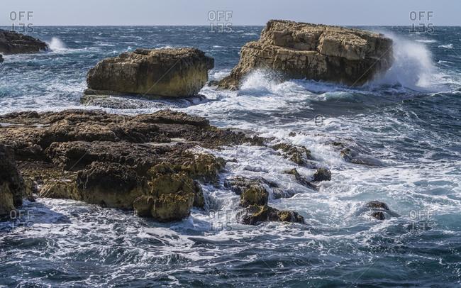 Rocky sea coast of Sorrento, Italy