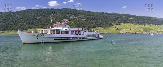 July 4, 2019: Berna ship on Lake Biel, Switzerland