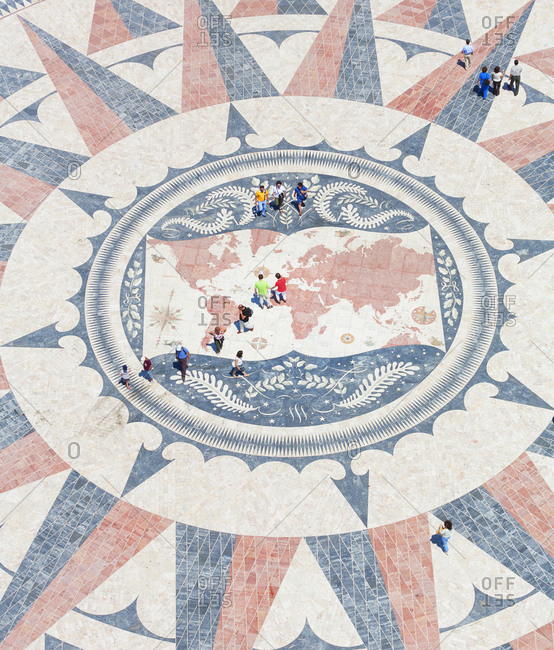 June 11, 2019: Mosaic compass, Monument to the Discoveries, Belem, Lisbon, Portugal, Europe