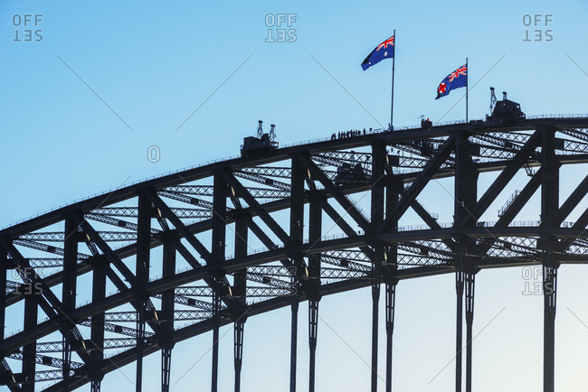 People walking on Sydney Harbor Bridge, Sydney, New South Wales, Australia