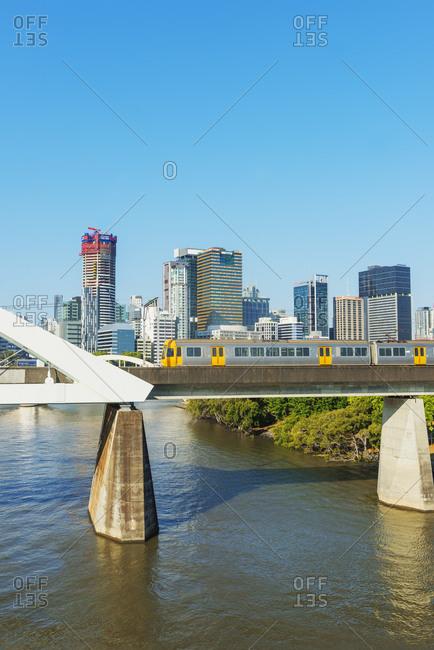 September 23, 2019: Skyline of Central Business District (CBD) and Brisbane River, Brisbane, Queensland, Australia