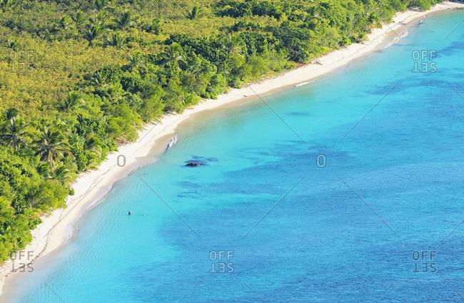 Top view of Nacula island and tropical beach, Yasawa island group, Fiji, South Pacific islands,