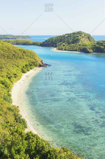View of Drawaqa Island, Yasawa island group, Fiji, South Pacific islands