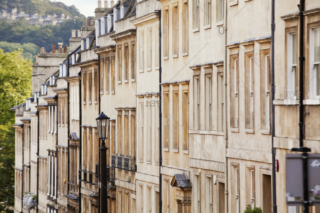 Row of Georgian terraced houses, Bath, Somerset, England,  UK