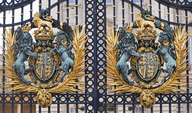 Buckingham Palace gates, London, England, UK