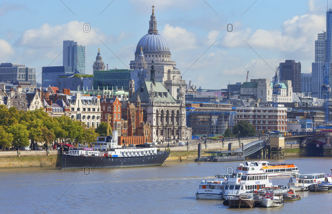 September 25, 2019: View of  St. Paul's Cathedral and river Thames, London, England, UK