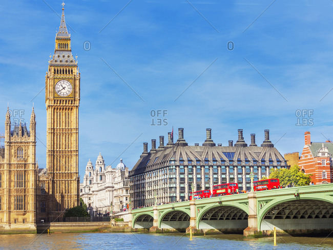 September 25, 2019: Big Ben and Westminster Bridge, London, England, UK
