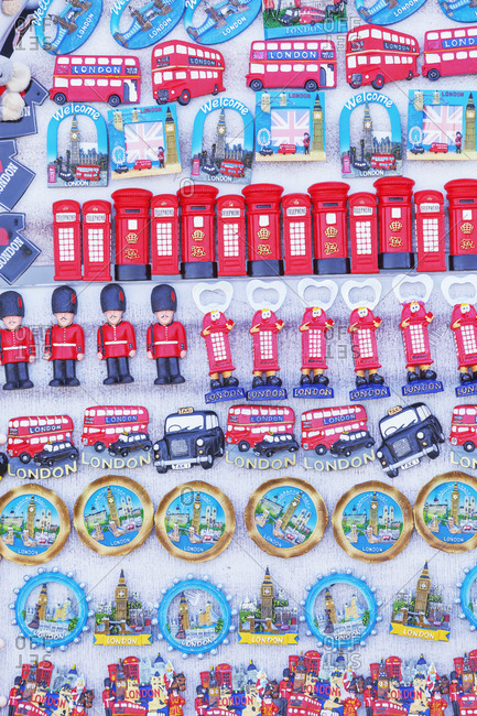September 25, 2019: Souvenirs on display, London, England, UK