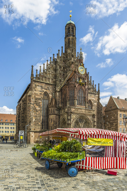 June 22, 2018: Market and Frauenkirche Nuremberg in Germany