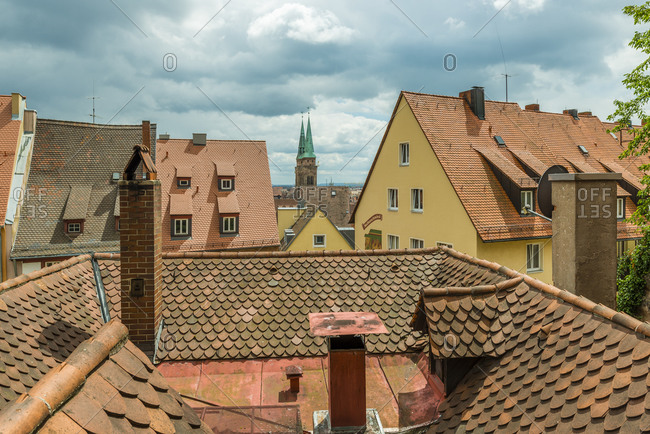 June 22, 2018: Above the roofs of Nuremberg, Am olberg, Untere Soldnergasse