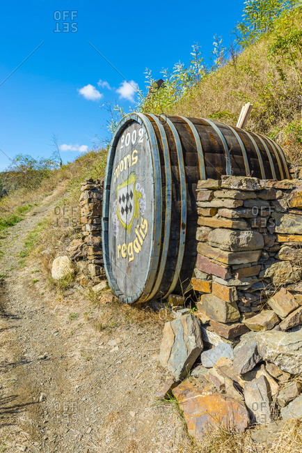 September 25, 2018: Monreal in the Eifel, the most beautiful village in Rhineland-Palatinate, wooden barrel