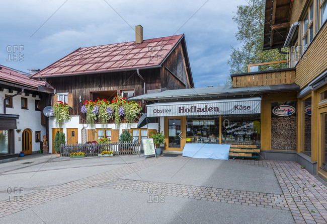 October 14, 2016: Shops in the Oststrasse in the Kneipp spa town of Oberstdorf, Upper Swabia