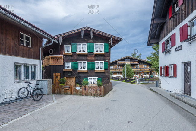 October 14, 2016: Wooden house in the Oststrasse in the Kneipp spa town of Oberstdorf, Upper Swabia
