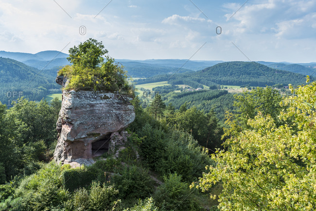 Drachenfels castle ruins, a rock castle carved into the stone
