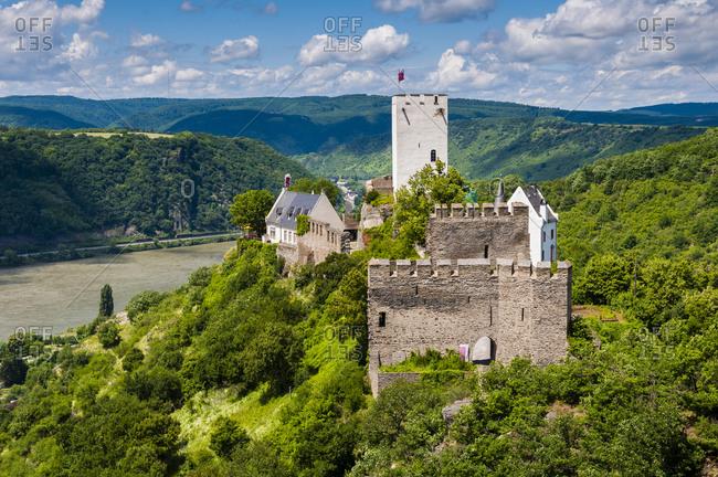Sterrenberg Castle, Middle Rhine, seen from Liebestein Castle