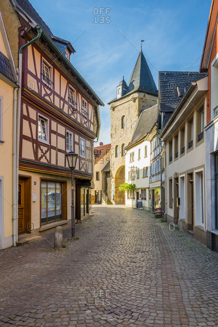 July 9, 2016: Untergasse with Untertor in the historic old town of Meisenheim am Glan, well-preserved medieval architecture in the northern Palatinate highlands, Germany
