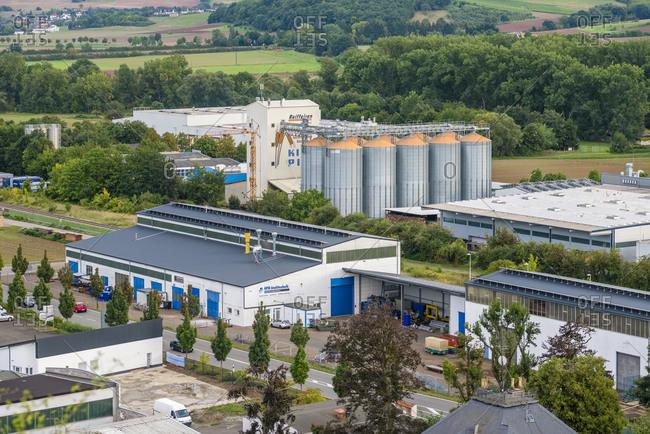 September 18, 2015: Commercial area of Monzingen an der Nahe, Bad Kreuznach district
