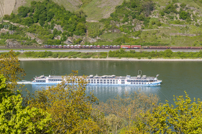 April 20, 2017: River cruise ship near Kaub, from a lookout point near Schonburg, Germany