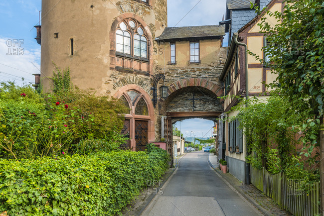 August 28, 2016: Haag's Tower or Red Tower in Oberwesel the city of towers on the Middle Rhine, Germany