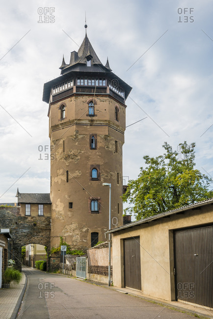 Haag's Tower or Red Tower in Oberwesel the city of towers on the Middle Rhine, Germany