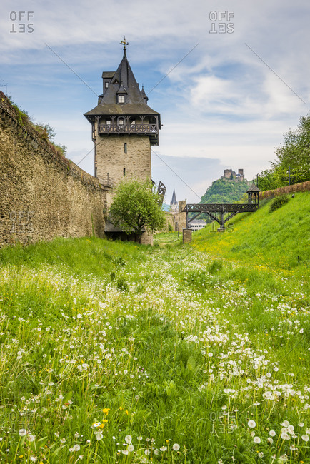 Medieval city wall of Oberwesel, Middle Rhine defensive wall with towers
