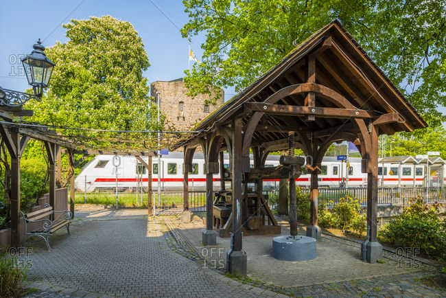 May 1, 2019: Rhens train station on the Middle Rhine, Germany