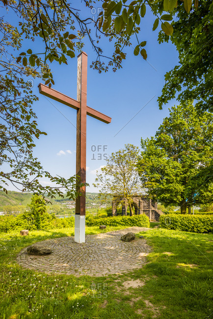 "Peace Cross at the Konigsstuhl near Rhens on the Middle Rhine, with the inscription: ""Peace be granted to the world"""