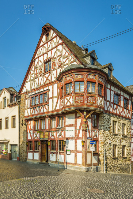 May 1, 2019: Half-timbered house in Hochstrasse in Rhens, Middle Rhine on the market square, Germany